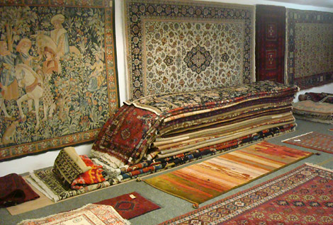 Shop interior with a wide selection of handknotted rugs
